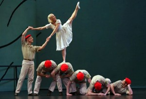 Michael Trusnovec and Aileen Roehl with fellow members of the Paul Taylor Dance Company performing in SUNSET