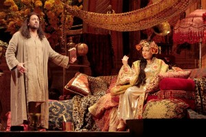 Placido Domingo as Athanael and Nino Machaidze as Thais in THAÏS at Los Angeles Opera.