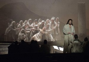 Placido Domingo as Athanael in a scene from THAIS (photo by Tato Baeza courtesy of the Palau de ses Arts Reina Sofia, Valencia)
