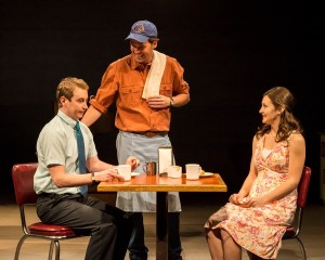 Stephen Ellis, Malcolm Madera and Rebecca Larsen in different words for the same thing at the Kirk Douglas Theatre.
