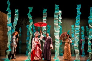 Vin Kridakorn (Boatman), Amy Kim Waschke (White Snake), Jon Norman Schneider (Xu Xian) and Lisa Tejero (Ensemble) in THE WHITE SNAKE at the Goodman