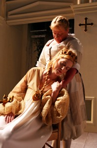 Suzanne Warmanen and Cate Scott Campbell in South Coast Repertory's TARTUFFE