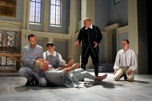 Nathan Keepers, Steven Epp, Nick Slimmer, Luverne Seifert and Brian Hostenske in South Coast Repertory's 2014 production of Molière's Tartuffe