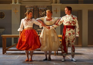Lenne Klingaman, Suzanne Warmanen and Christopher Carley in South Coast Repertory's 2014 production of Molière's Tartuffe