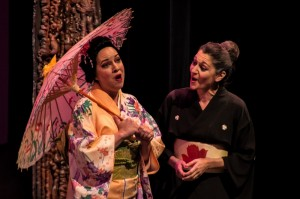 Adrien Roberts (Butterfly) and Kim Shahbazian (Butterfly's mother) in Center Stage Opera's MADAMA BUTTERFLY