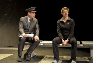 Bill Champion and Elizabeth Boag in Alan Ayckbourn's ARRIVALS AND DEPARTURES, part of Brits Off Broadway at 59E59 Theaters. Photo by Andrew Higgens.