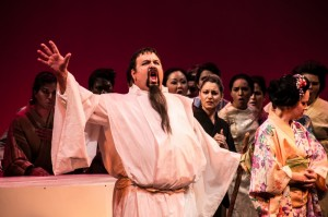 Carl King (Bonze), Adrien Roberts (Butterfly), and company in Center Stage Opera's MADAMA BUTTERFLY