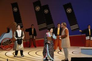 Efrain Solis (Prince Yamadori), Patricia Racette (Cio-Cio-San) and Brian Mulligan (Sharpless) in SF Opera's MADAMA BUTTERFLY.