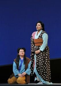 Elizabeth DeShong (Suzuki) and Patricia Racette (Cio-Cio-San) in SF Opera's MADAMA BUTTERFLY.
