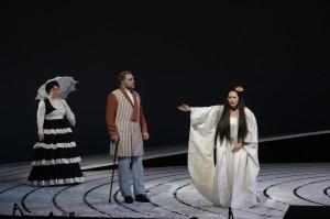 Jacqueline Piccolino (Kate Pinkerton), Brian Mulligan (Sharpless) and Patricia Racette (Cio-Cio-San) in SF Opera's MADAMA BUTTERFLY.
