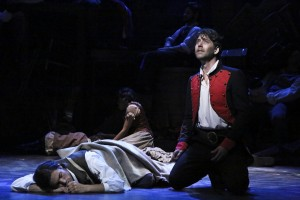 James Barbour (with Nathaniel Irvin on ground) stars in the LA MIRADA THEATRE FOR THE PERFORMING ARTS-McCOY RIGBY ENTERTAINMENT production of LES MISERABLES
