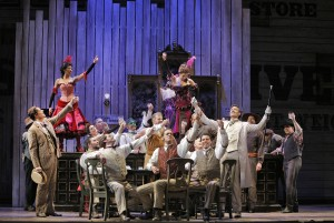 SF Opera's SHOW BOAT. John Bolton (Frank Schultz) and Michael Todd Simpson (Gaylord Ravenal) with chorus and dancers.