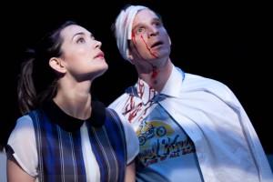 Jules Willcox and Brad Fleischer in GRUESOME PLAYGROUND INJURIES at Rogue Machine Theatre