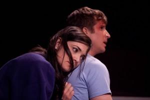 Jules Willcox and Brad Fleischer in GRUESOME PLAYGROUND INJURIES at Rogue Machine Theatre.