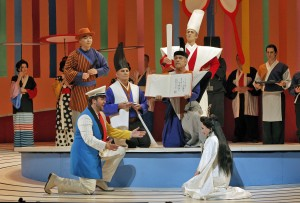Julius Ahn (Goro), Brian Jagde (Pinkerton), Jere Torkelsen (The Registrar), Hadleigh Adams (The Imperial Commissioner) and Patricia Racette (Cio-Cio-San) in SF Opera's MADAMA BUTTERFLY