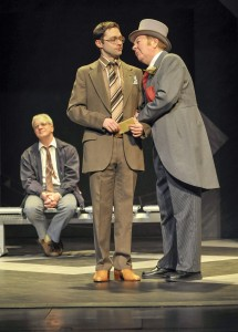 Kim Wall, James Powell and Russell Dixon in Alan Ayckbourn's ARRIVALS AND DEPARTURES, part of Brits Off Broadway at 59E59 Theaters. Photo by Andrew Higgens