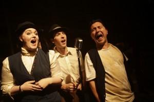 Neala Baron, Nathan Gardner, and Jason Richards in Kokandy Productions' ASSASSINS at Theater Wit.