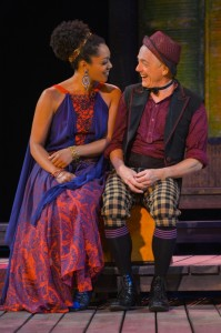Nemuna Ceesay as Adriana and Danny Scheie as Dromio in Cal Shakes' THE COMEDY OF ERRORS, directed by Aaron Posner; photo by Kevin Berne