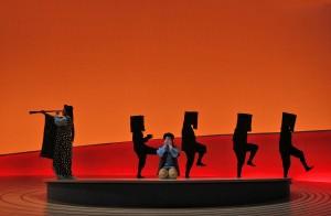 Patricia Racette (Cio-Cio-San), Elizabeth DeShong (Susuki) and kurogo (Act II) in SF Opera's MADAMA BUTTERFLY.