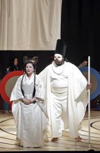 Patricia Racette (Cio-Cio-San) and Morris Robinson (The Bonze) in SF Opera's MADAMA BUTTERFLY.