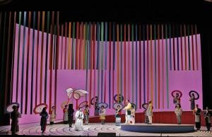 Patricia Racette as Cio-Cio-San and Brian Jagde as Pinkerton with chorus in SF Opera's MADAMA BUTTERFLY.