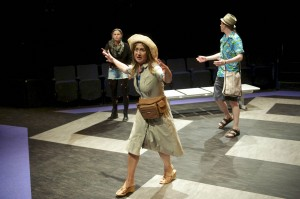 Rachel Caffrey, Sarah Stanley (front), and Ben Porter in Alan Ayckbourn's ARRIVALS AND DEPARTURES, part of Brits Off Broadway at 59E59 Theaters. Photo by Tony Bartholomew