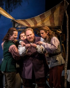 Richard Strimer (Ensemble), William Angulo (Ensemble), Michael Aaron Lindner (Angus MacGuffie) and Drew Nellessen (Ensemble) in BRIGADOON at the Goodman Theatre.