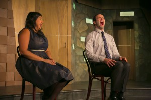 "Punam Patel and Asher Perlman in The Second City Etc's performance of ""Apes of Wrath."""