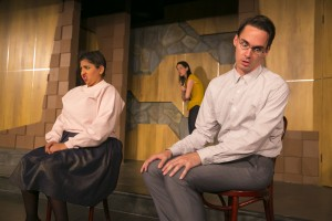 "Punam Patel, Brooke Breit and Tim Ryder in The Second City Etc's performance of ""Apes of Wrath"""