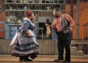 SF Opera's production of SHOW BOAT. Angela Renee Simpson (Queenie) and Morris Robinson (Joe).