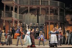 SF Opera's production of SHOW BOAT. Heidi Stober (Magnolia Hawks), Patricia Racette (Julie La Verne), Angela Renee Simpson (Queenie) and Morris Robinson (Joe) with chorus and dancers.