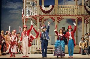 SF Opera's production of SHOW BOAT. Kirsten Wyatt (Ellie Mae Chipley), John Bolton (Frank Schultz), Bill Irwin (Cap'n Andy), Patricia Racette (Julie La Verne), Patrick Cummings (Steve Baker).