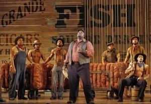 SF Opera's production of SHOW BOAT. Morris Robinson (Joe) and chorus.