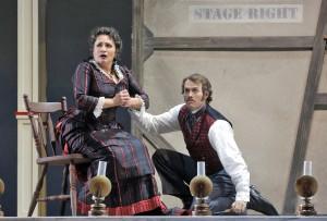 SF Opera's production of SHOW BOAT. Patricia Racette (Julie La Verne) and Patrick Cummings (Steve Baker).