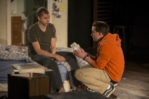 (left to right) Warren (Michael Cera) and Dennis (Kieran Culkin) discuss a potential business deal in Steppenwolf Theatre Company's production of This Is Our Youth by Kenneth Lonergan.