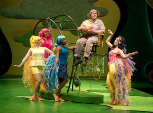 Horton the Elephant (George Andrew Wolff, at center) reluctantly takes over egg-tending duties from Mayzie La Bird (Cory Goodrich), while the Bird Girls (Ericka Mac, Allison Sill and Krystal Worrell) look on in Chicago Shakespeare Theater's Seussical, directed by Scott Weinstein.