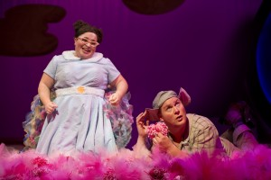 "Gertrude McFuzz implores Horton the Elephant (George Andrew Wolff) to look up from the clover in ""Notice Me Horton"" in Chicago Shakespeare Theater's Seussical, directed by Scott Weinstein."