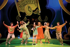 "Residents of Whoville lament living on the tiniest planet in the sky in ""Here on Who"" in Chicago Shakespeare Theater's Seussical, directed by Scott Weinstein."