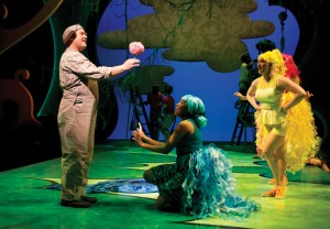 Horton the Elephant (George Andrew Wolff) protects his precious speck of dust on a clover to the delight of the Bird Girls (Krystal Worrell and Ericka Mac) in Chicago Shakespeare Theater's Seussical, directed by Scott Weinstein.