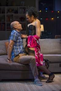 Chris (Greg Stuhr) and Regine (Karen Aldridge) get intimate in THE QUALMS at Steppenwolf.