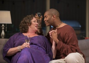 Deb (Kirsten Fitzgerald) and Ken (Paul Oakley Stovall) share the story of how their relationship began in THE QUALMS at Steppenwolf.