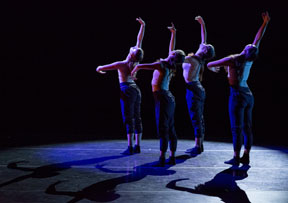 Thodos ensemble member Diana Winfree's new work Faultless features (from left) Elizabeth Dickson, Tenley Dorrill, Winfree and Lauren Zimmerer. Winfree's new work debuted July 18-20, 2014 as part of Thodos Dance Chicago's 14th Annual New Dances series. Photo by Cheryl Mann.