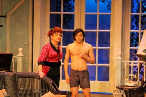 Everett Quinton (left) Michael Keyloun (standing) and Jason Cruz (right) in DROP DEAD PERFECT. Photo by Ed McCarthy.