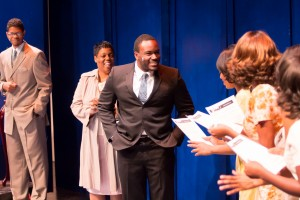 Ereatha McCullogh as Mrs. Sharpley and Rober N. Isaac as Berry Gordy in the World Premiere of THE MARVELOUS MARVELETTES at Black Ensemble Theater.