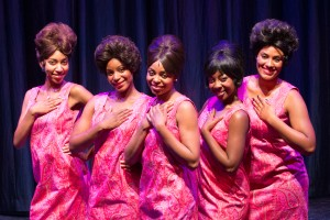 Katrina Richard as Geroreanna, Kylah Frye at Juanita, Melanie McCullough as Gladys, Christina Harper as Katherine and Alanna Taylor as Wanda in the World Premiere of THE MARVELOUS MARVELETTES at Black Ensemble Theater.