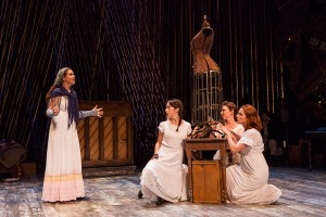 (from left) Claire Karpen as Cinderella with Emily Young, Liz Hayes, and Jessie Austrian in Stephen Sondheim and James Lapine's Into the Woods, in a reimagining by Fiasco Theater, directed by Noah Brody and Ben Steinfeld, in a production that originated at McCarter Theatre Center. Into the Woods runs July 12 - Aug. 17, 2014 at The Old Globe. Photo by Jim Cox.