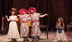 (from left) Liz Hayes as Cinderella's Stepmother, Noah Brody as Lucinda, Andy Grotelueschen as Florinda, and Claire Karpen as Cinderella in Stephen Sondheim and James Lapine's Into the Woods, in a reimagining by Fiasco Theater, directed by Noah Brody and Ben Steinfeld, in a production that originated at McCarter Theatre Center. Into the Woods runs July 12 - Aug. 17, 2014 at The Old Globe. Photo by Jim Cox.