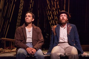 (from left) Ben Steinfeld as Baker and Paul L. Coffey as Mysterious Man in Stephen Sondheim and James Lapine's Into the Woods, in a reimagining by Fiasco Theater, directed by Noah Brody and Ben Steinfeld, in a production that originated at McCarter Theatre Center. Into the Woods runs July 12 - Aug. 17, 2014 at The Old Globe. Photo by Jim Cox.