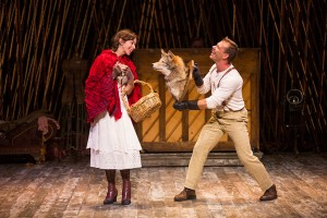 Emily Young as Little Red Ridinghood and Noah Brody as Wolf in Stephen Sondheim and James Lapine's Into the Woods, in a reimagining by Fiasco Theater, directed by Noah Brody and Ben Steinfeld, in a production that originated at McCarter Theatre Center. Into the Woods runs July 12 - Aug. 17, 2014 at The Old Globe. Photo by Jim Cox.