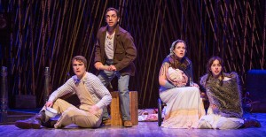 (from left) Patrick Mulryan as Jack, Ben Steinfeld as Baker, Claire Karpen as Cinderella, and Emily Young as Little Red Ridinghood in Stephen Sondheim and James Lapine's Into the Woods, in a reimagining by Fiasco Theater, directed by Noah Brody and Ben Steinfeld, in a production that originated at McCarter Theatre Center. Into the Woods runs July 12 - Aug. 17, 2014 at The Old Globe. Photo by Jim Cox.